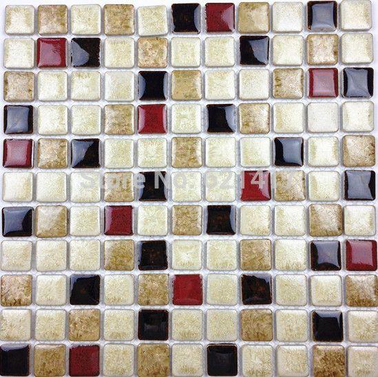 Discount White Deep Red Black Ceramic Porcelain Glazed Mosaic Tiles For Kitchen Backsplash Shower Dining Room Wall T Mosaic Tiles Room Wall Tiles Kitchen Tiles