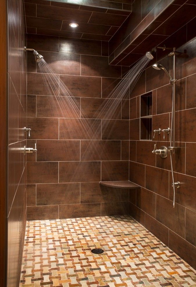 L Shaped Shower Bathroom Traditional with Niche Contemporary Pans ...