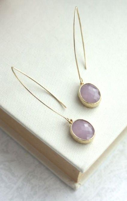 Gold Pink Opal Earrings