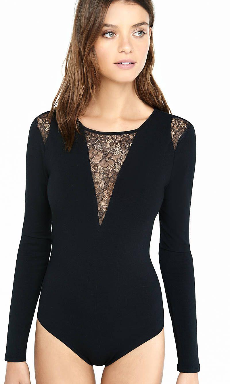 d6c692bd5d Black Long Sleeve Pieced Lace Bodysuit