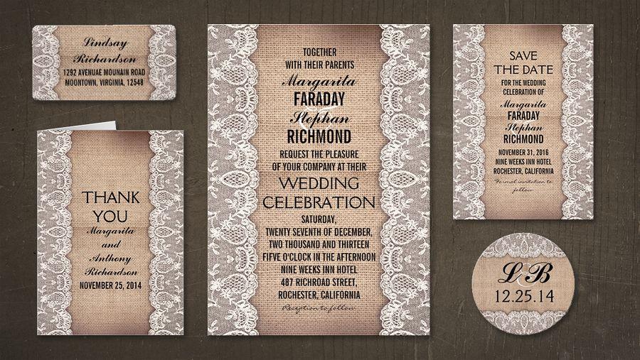 Classic and elegant rustic wedding invitation with old burlap