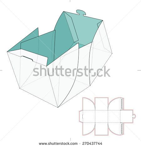 Cube Box With Die Cut Template  Off    Cajas