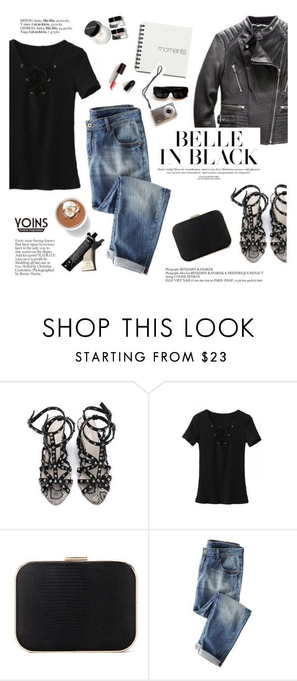 """""""Belle in black"""" by punnky ❤ liked on Polyvore featuring Victoria's Secret, Wrap, Bobbi Brown Cosmetics and Garance Doré"""