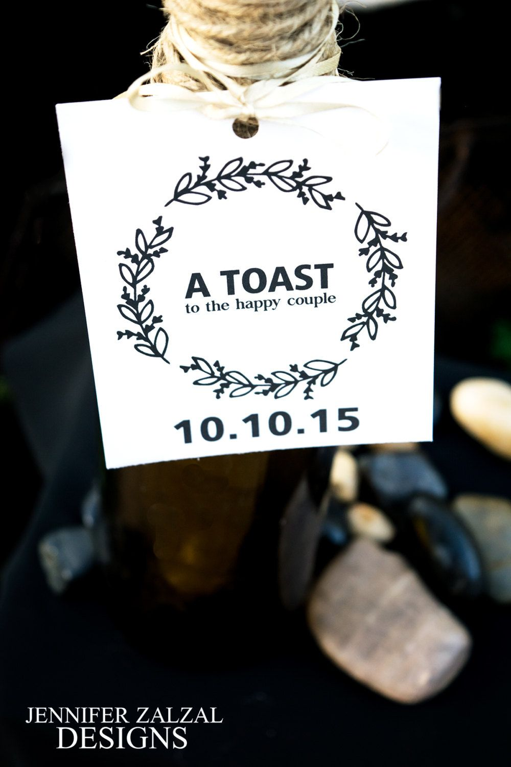 Wine Toast Favor Tag White or