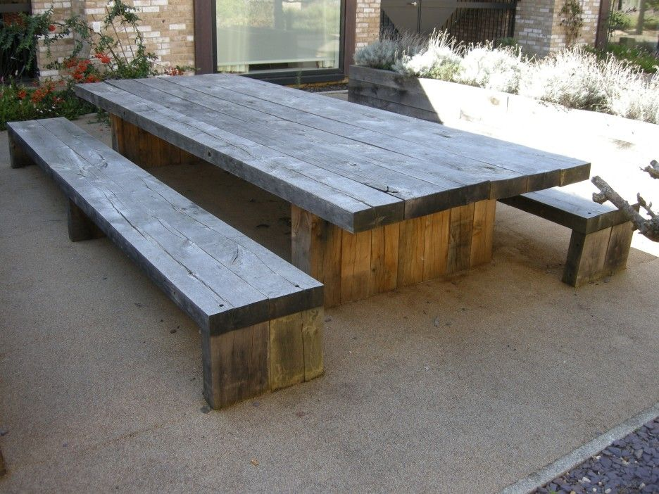 Exterior long diy solid wood picnic table with double bench seat made from reclaimed wood - How to make rustic wood furniture ...