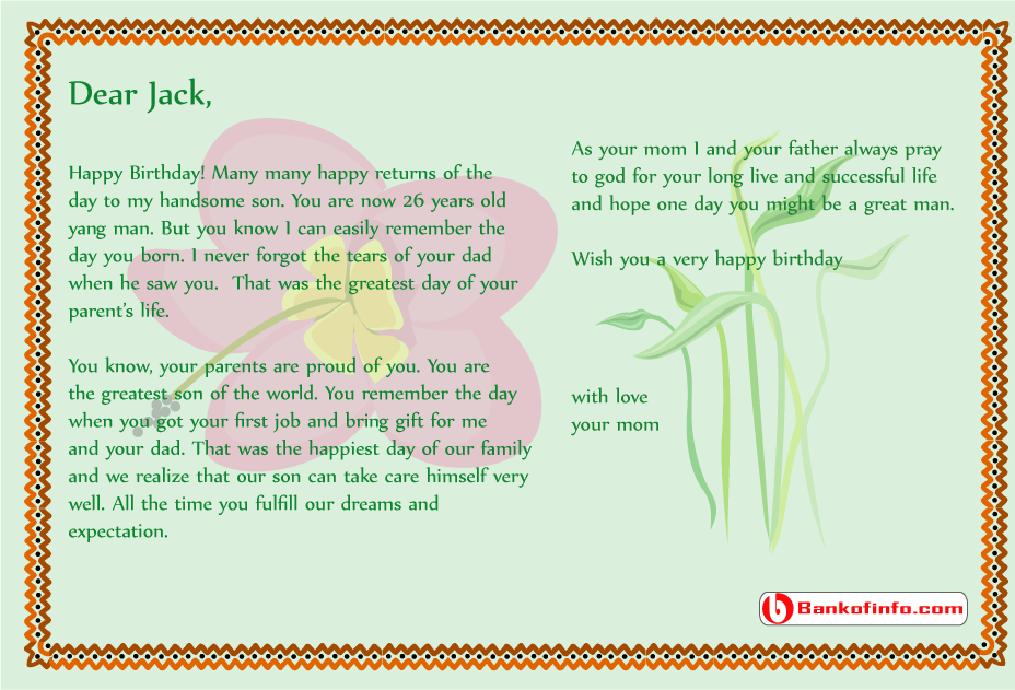Birthday Letter Son From Mom She Wrote These Words  Home Design