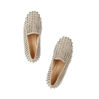 Christian Louboutin, Rolling Spikes Studded Suede Slippers