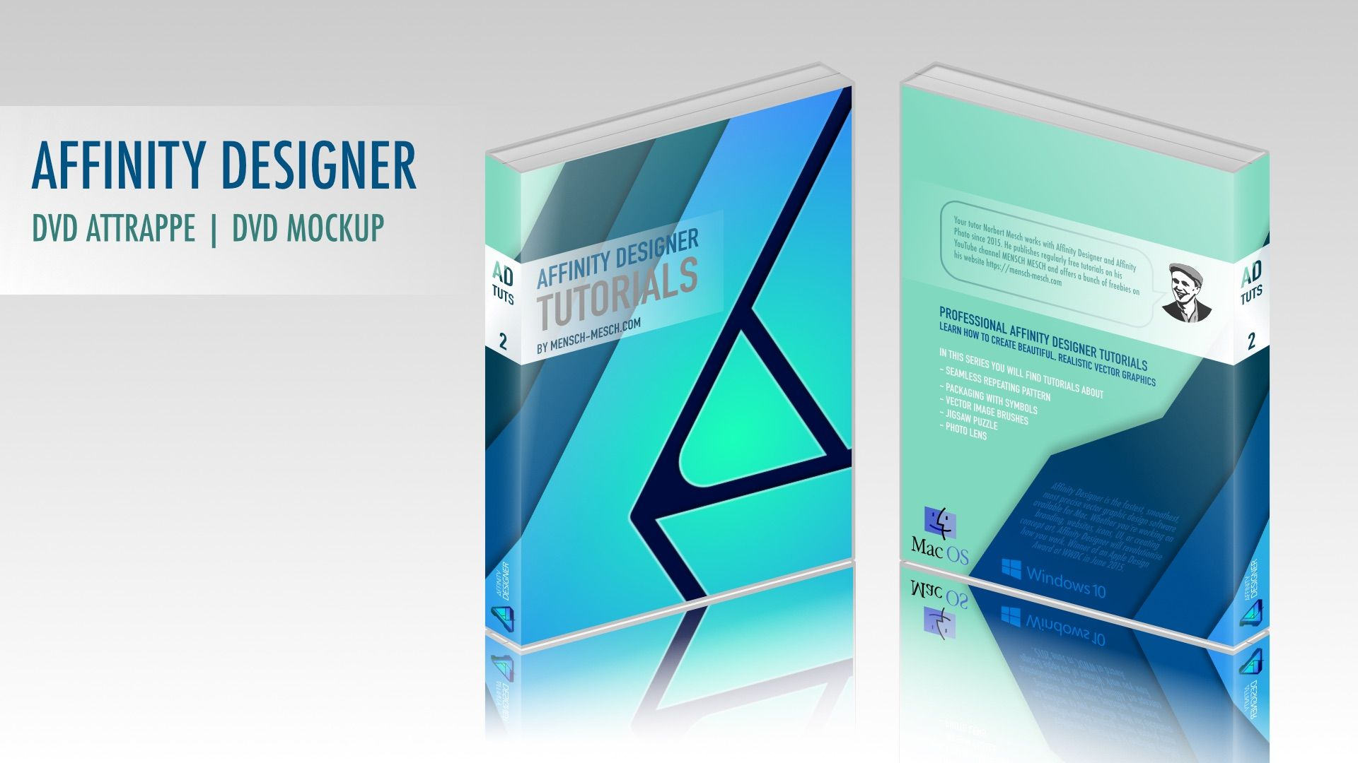 02 AD UR – DVD Hülle Attrappe   DVD Cover Mockup  In this Affinity Designer user request (AD UR), I show you how to create a mockup of a DVD cover in Affinity Designer 1.5.5.