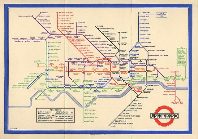 Subway Map Before 1933.London Underground Map H Beck Diagram First Public Version 1933