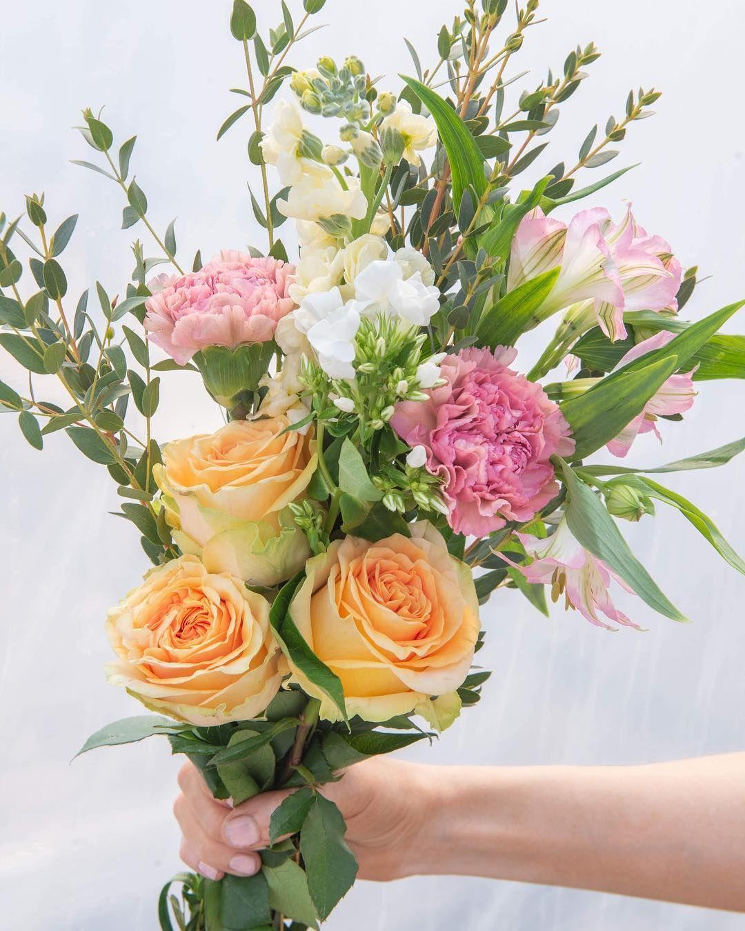 Peach Finesse Roses With Carnation Phlox Stock Alstroemeria Parvifolia Eucalyptus Flower Arrangements Carnations Alstroemeria