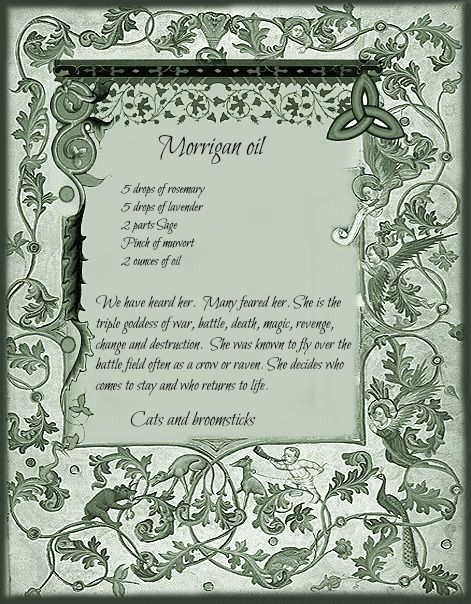 Morrigan Oil recipe | Witchcraft | Book of shadows, Traditional
