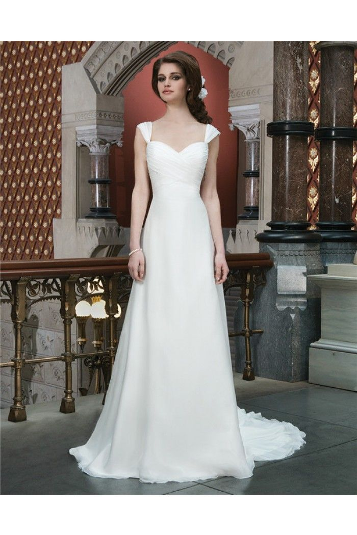 Simple A Line Sweetheart Low Back Chiffon Destination Wedding Dress With Straps Bow