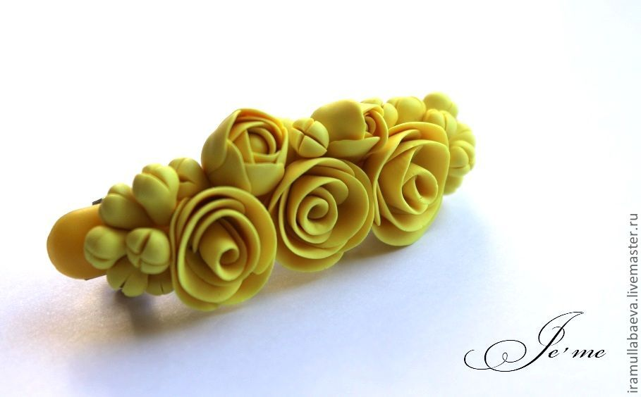 plymer clay roses hairclip