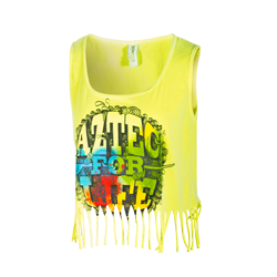 Neon Fringe Crop Tank Neon yellow tank featuring a cropped fringe bottom, and a colorful screen printed Aztec for Life surfboard & swirl design. $21