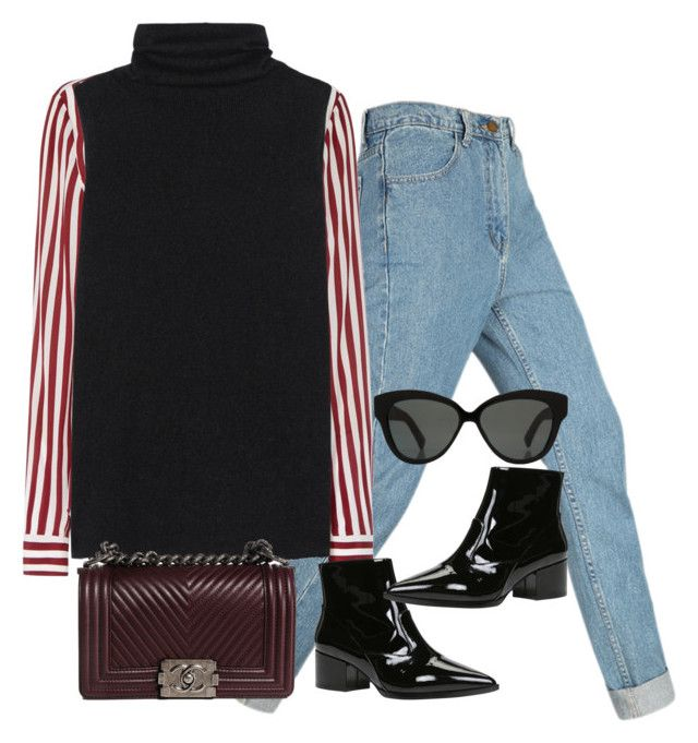 """""""Untitled #5209"""" by lguimaraes ❤ liked on Polyvore featuring Tommy Hilfiger, The Row, ALDO, Chanel and Linda Farrow"""