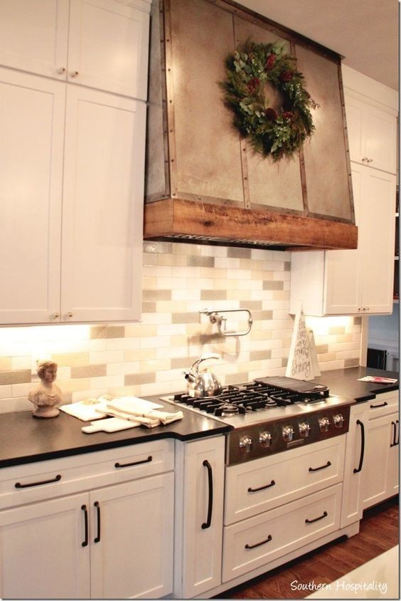 Custom Metal Vent Hood Decorated With Wood