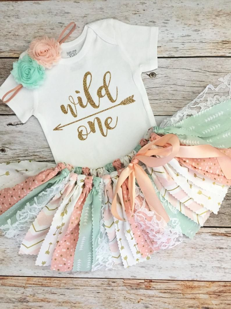 Peach, Mint and Gold Wild One Birthday Outfit with