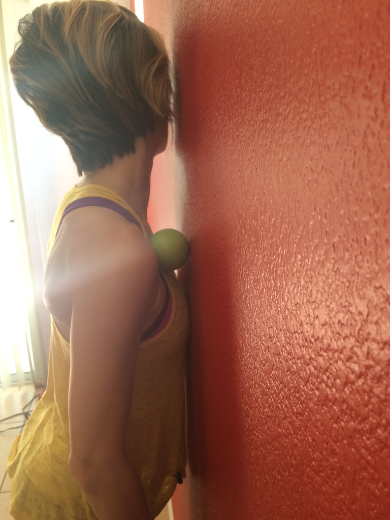 Avoid climber's posture by using a lacrosse/tennis ball to roll out your chest and lats