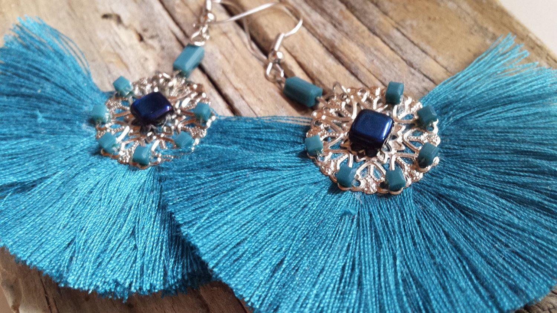 Boutique en ligne cf0a0 83c38 pendientes flecos, pendientes abanico, pendientes azules ...