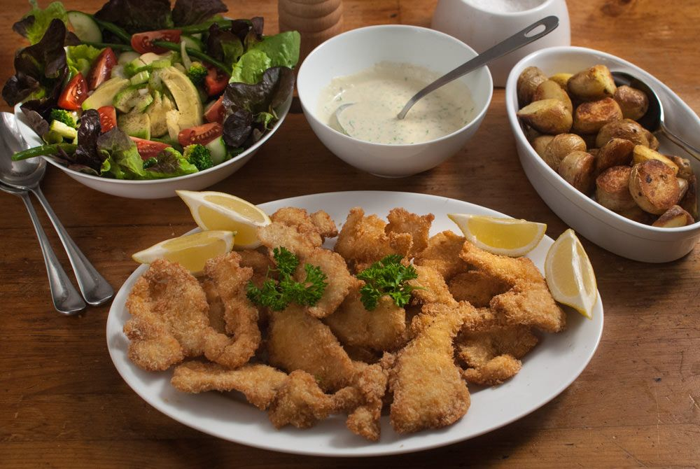 Chicken Goujons Salad Creamy Dressing One Word Moresome