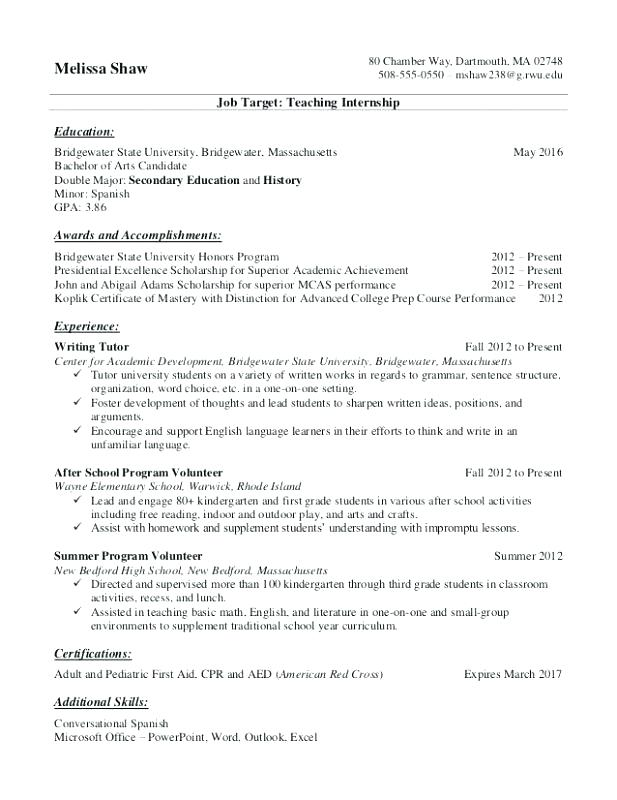Resume Tip And Example Student Transfer For S Internship College Template Warwick Personal Statement Medicine Ifp Requirement