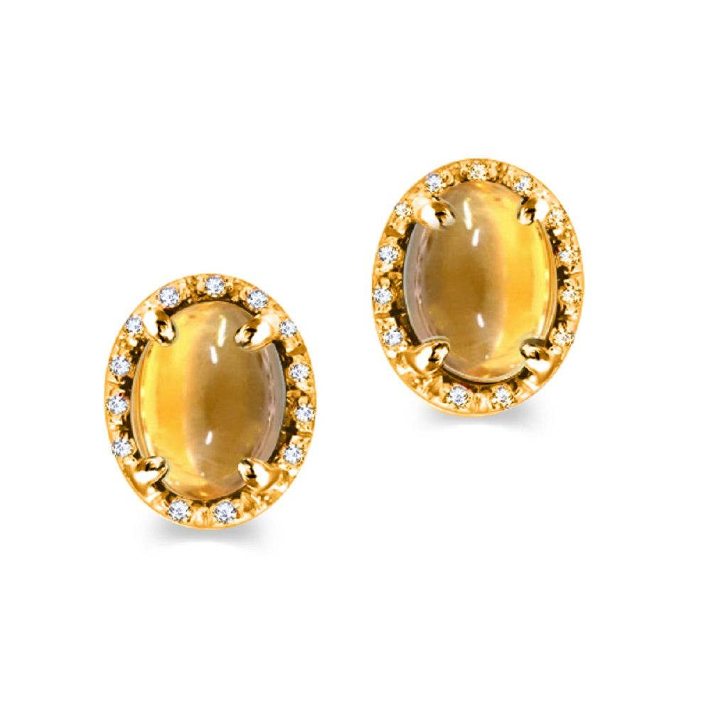 Yellow Citrine Earrings In Gold With Diamonds
