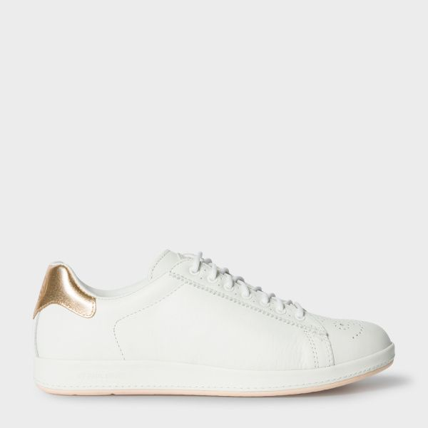 f378de293c5 Paul Smith Women s White Leather  Rabbit  Trainers With Gold Trims ...