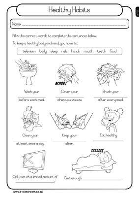 healthy habits grade 1 worksheet | Recursos inglés | Pinterest | Schule