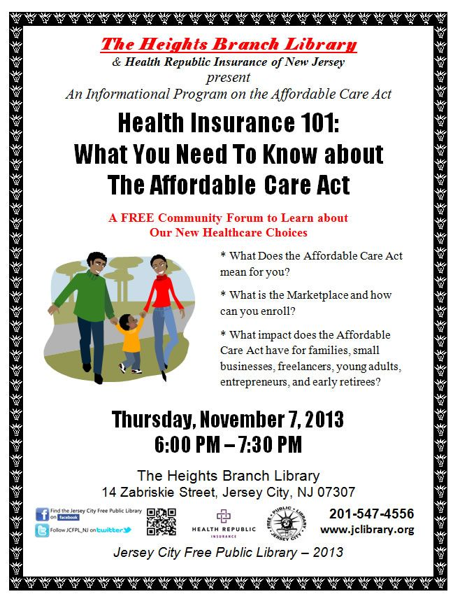 Jersey City Free Public Library Health Insurance 101 All You Need To Know About The Affordable Care Act The