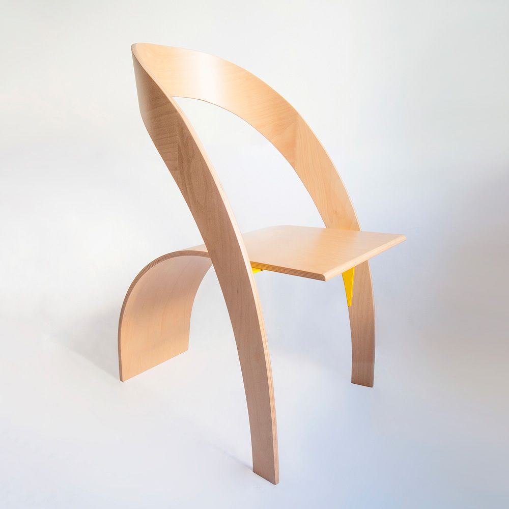 Photo of Two dynamic shapes balance each other in the Counterpoise chair.