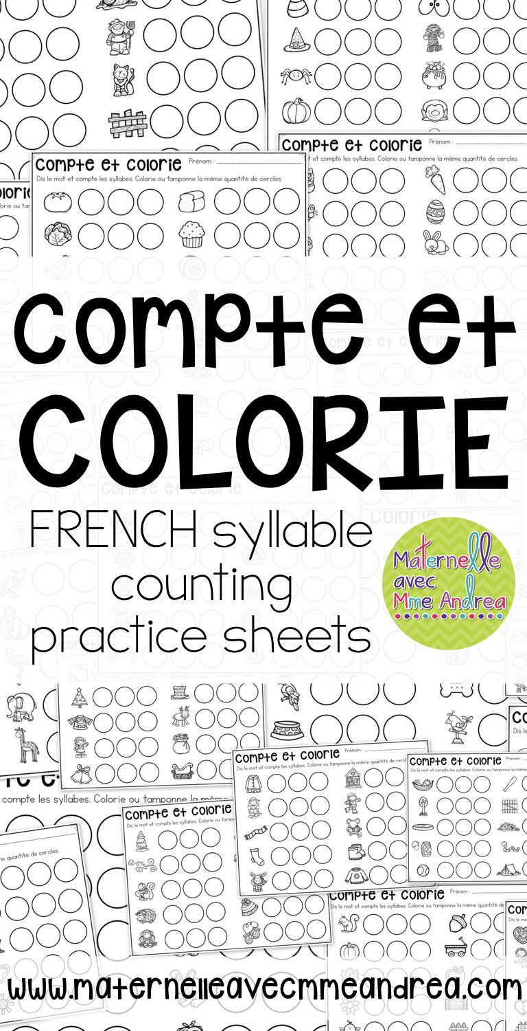 Compte et colorie! Les syllabes (FRENCH Syllable counting ...