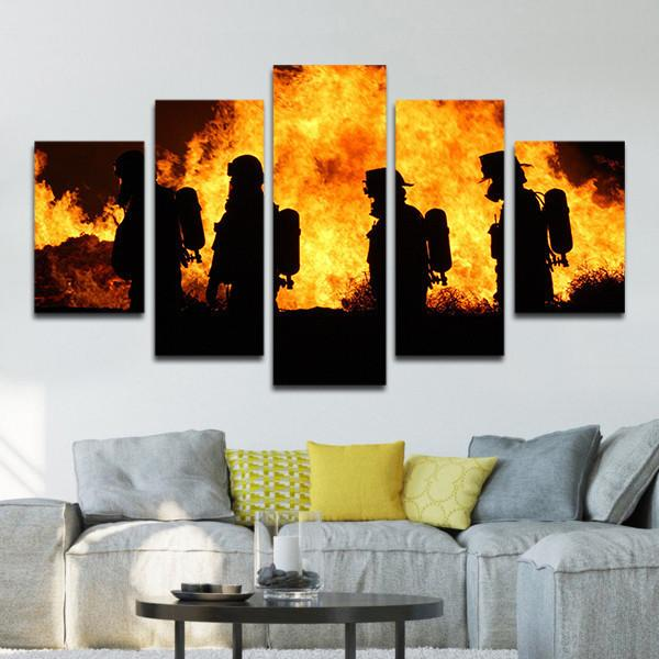 Firefighters In Action Multi Panel Canvas Wall Art Customized Canvas Art Canvas Art Wall Decor Wall Canvas