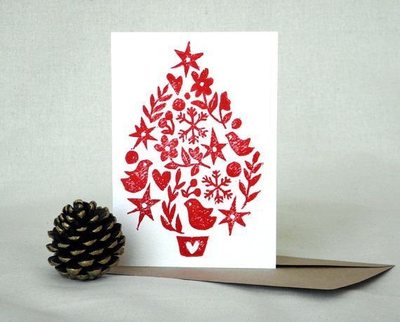 Christmas Images To Print.Christmas Tree Linocut Block Print Card Christmas Tree
