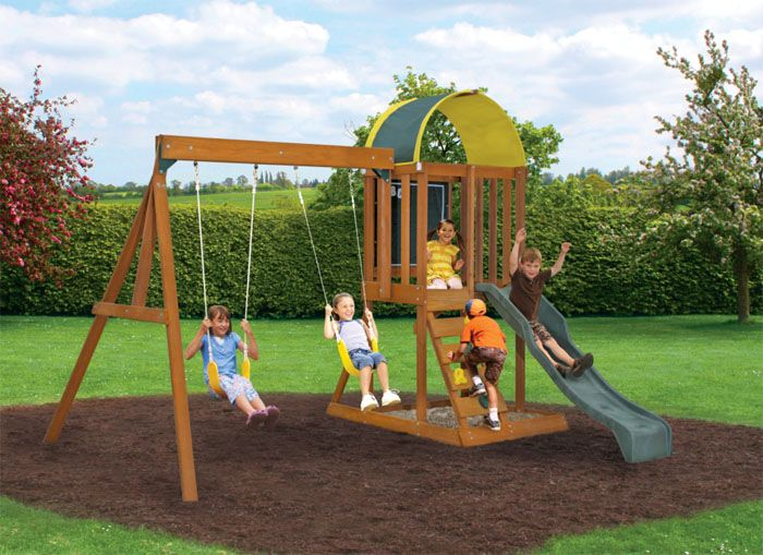 Swingset designs andorra wooden swing set by big for Small wooden swing sets