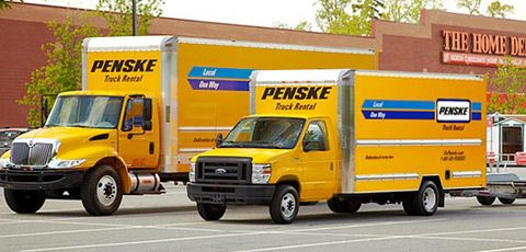 Two Penske Trucks In Front Of Home Depot With Images Home