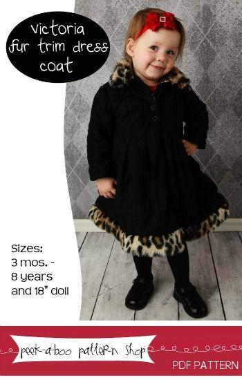 Victoria Fur Trim Dress Coat 3m - 8y PDF Pattern