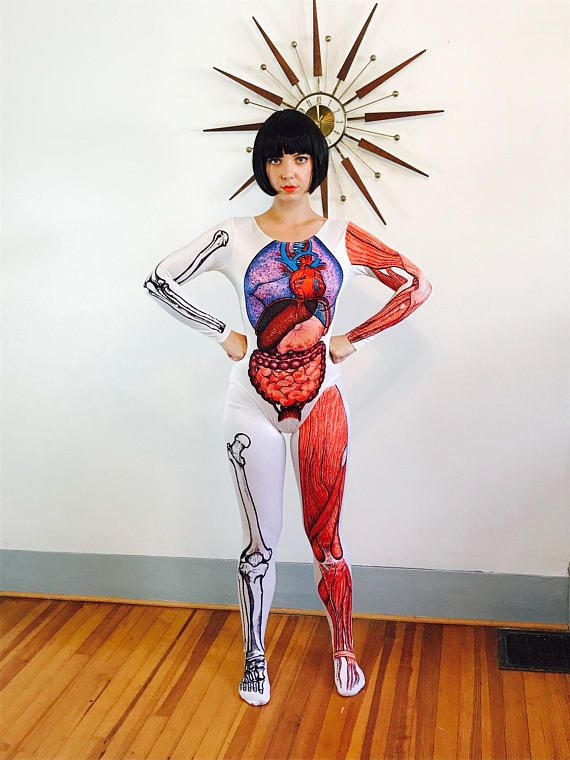 Anatomy Bodysuit Inside Out Bodywear Anitomical Unitard Skeleton