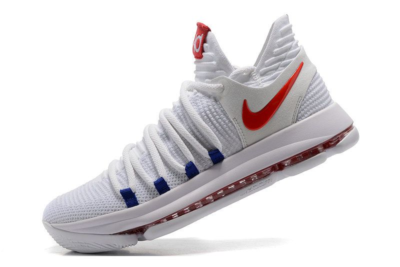 on sale abe2a a0064 New Kevin Durant Shoes KD 10 Authentic X USA Home White University Red