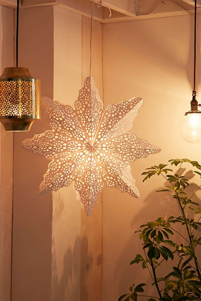 White Cutout Star Paper Lantern - Urban Outfitters