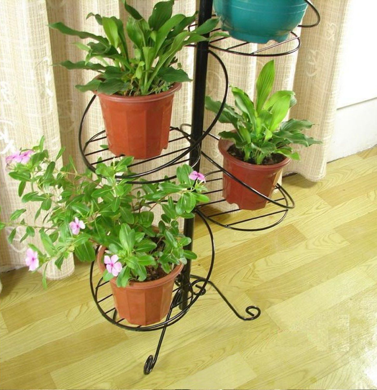 Amazon Com White Spiral Design 7 Tier Metal Planter Holder Display Stand Decorative Flower Pot Holder Ra Decorated Flower Pots Flower Pot Holder Flower Pots