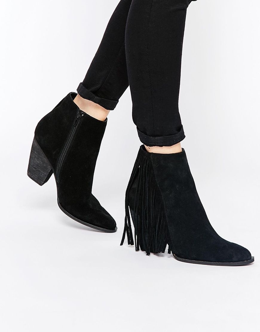 Buy Women Shoes / Faith Sprint Black Fringed Suede Western Boots
