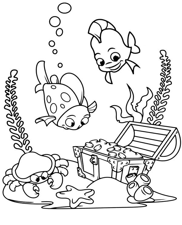 Sunken Treasure Coloring Picture To Print For Free Fish Coloring Page Free Coloring Page Templat Ocean Coloring Pages Coloring Pages Preschool Coloring Pages