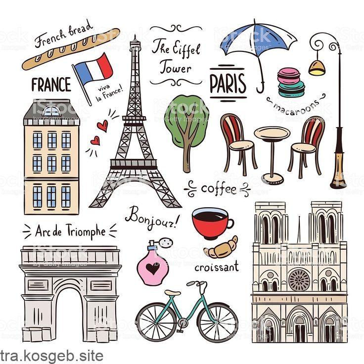 Paris Und Frankreich Hand Gezeichnete Illustrationen Reisesymbole Lizenzfreie Paris Und Frankreic Paris Zeichnung Reise Symbole Reisetagebuch Gestalten