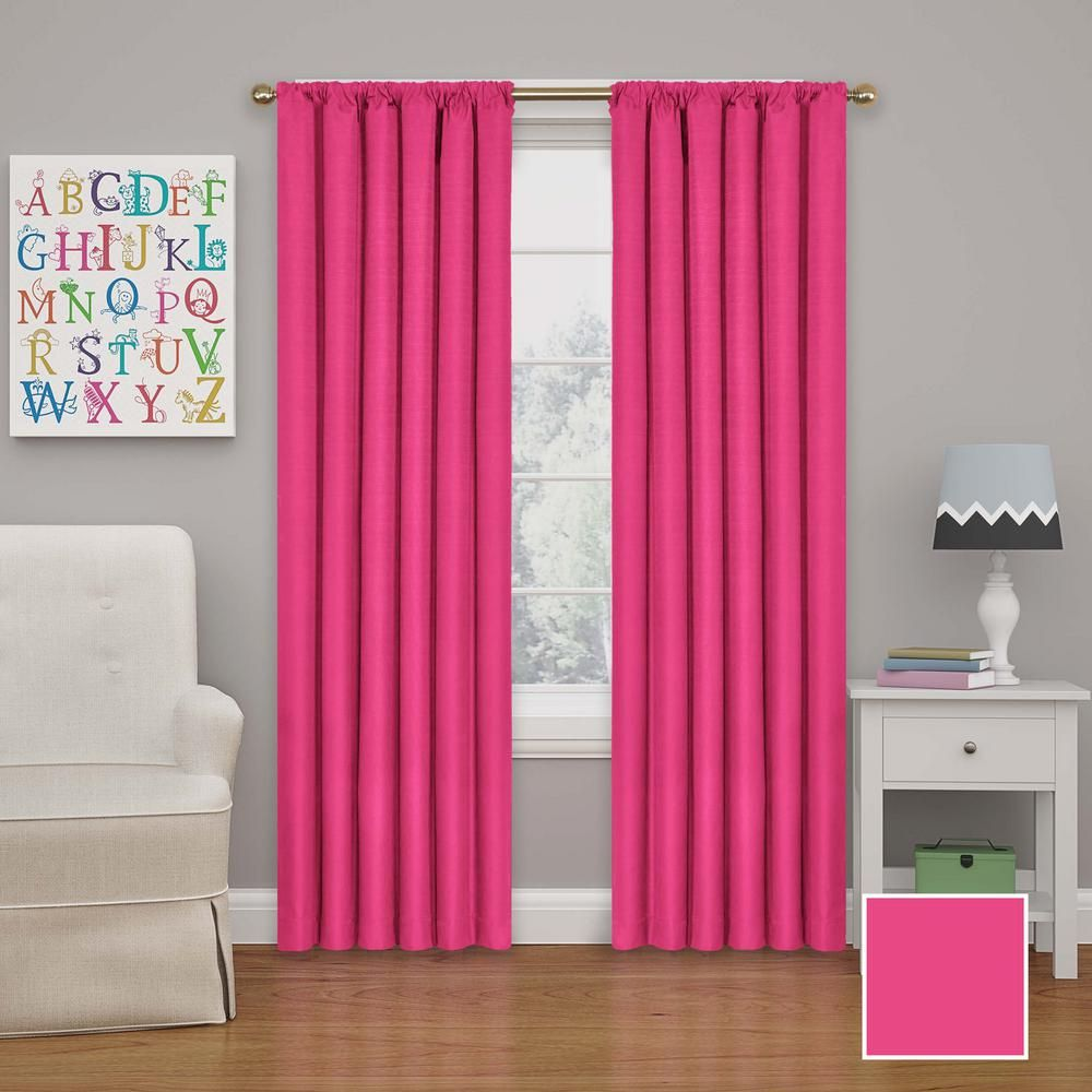Eclipse Kendall Blackout Window Curtain Panel In Raspberry 42 In W X 95 In L Panel Curtains Curtains Blackout Windows