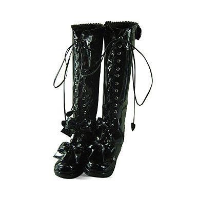Handmade Black PU Leather 4.5cm Wedge Princess Lolita Boots http://ltpi.co.nf/?item=450115