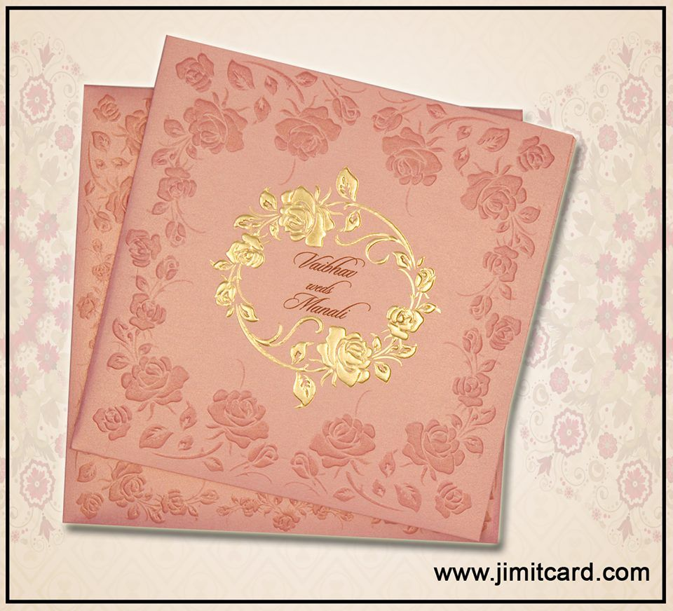 Floral Theme Based Indian Wedding Card In Peach Color With Gold