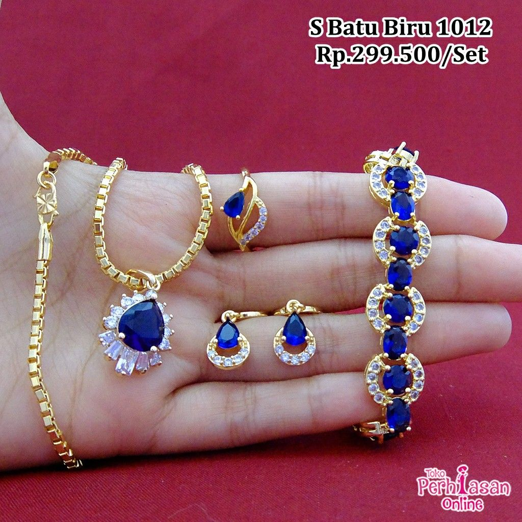 Perhiasan Emas Batu Biru Lapis Emas #perhiasanbagus # ...