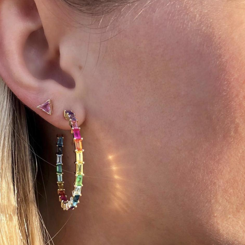 3ed0105deb61fb Rainbow Baguette Hoops in 2019 | Jewelry settings | Stephanie ...