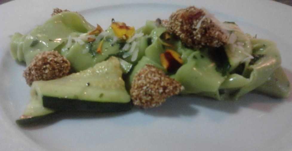 Spinach tagliatelle, summer squash and fried okra - Chef Danielle Mitchell