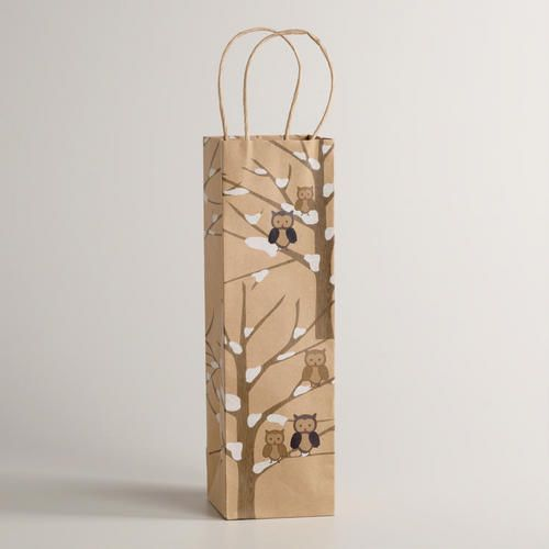 Owls in Tree Kraft Gift Bag + wine = sweet hostess gift!  @Carla Gentry Costephens Plus World Market